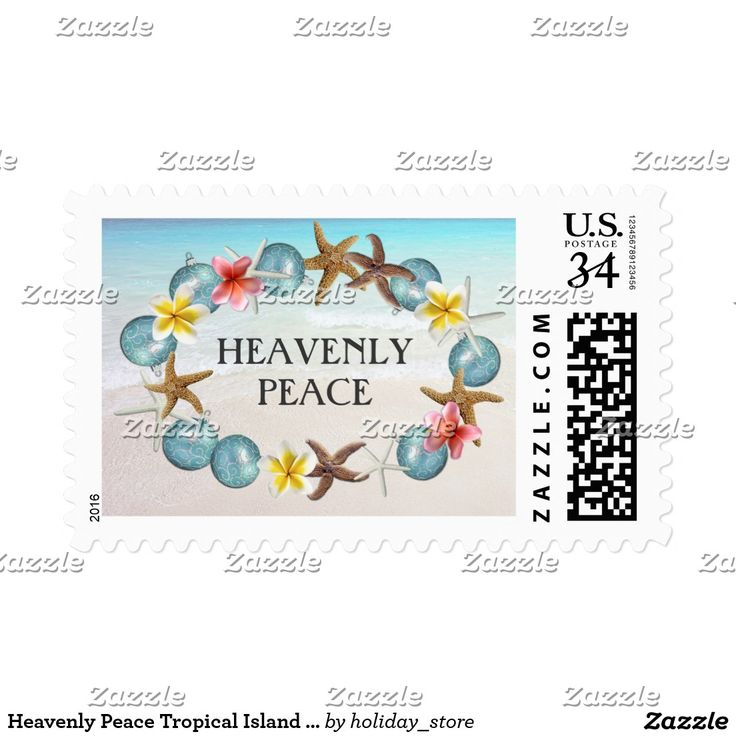 Heavenly Peace Tropical Island Christmas Postage Stamp