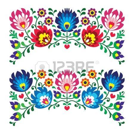 Polskie motywy kwiatowe hafty ludowe za karty Zdjęcie Seryjne