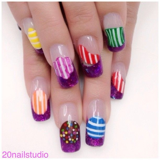 candy crush by  20nailstudio. HELL YES (for all us candy crush addicts)