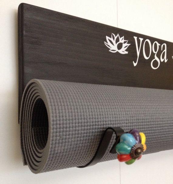 Handmade Yoga mat holder custom yoga mat holder wall by YogaWares                                                                                                                                                     More