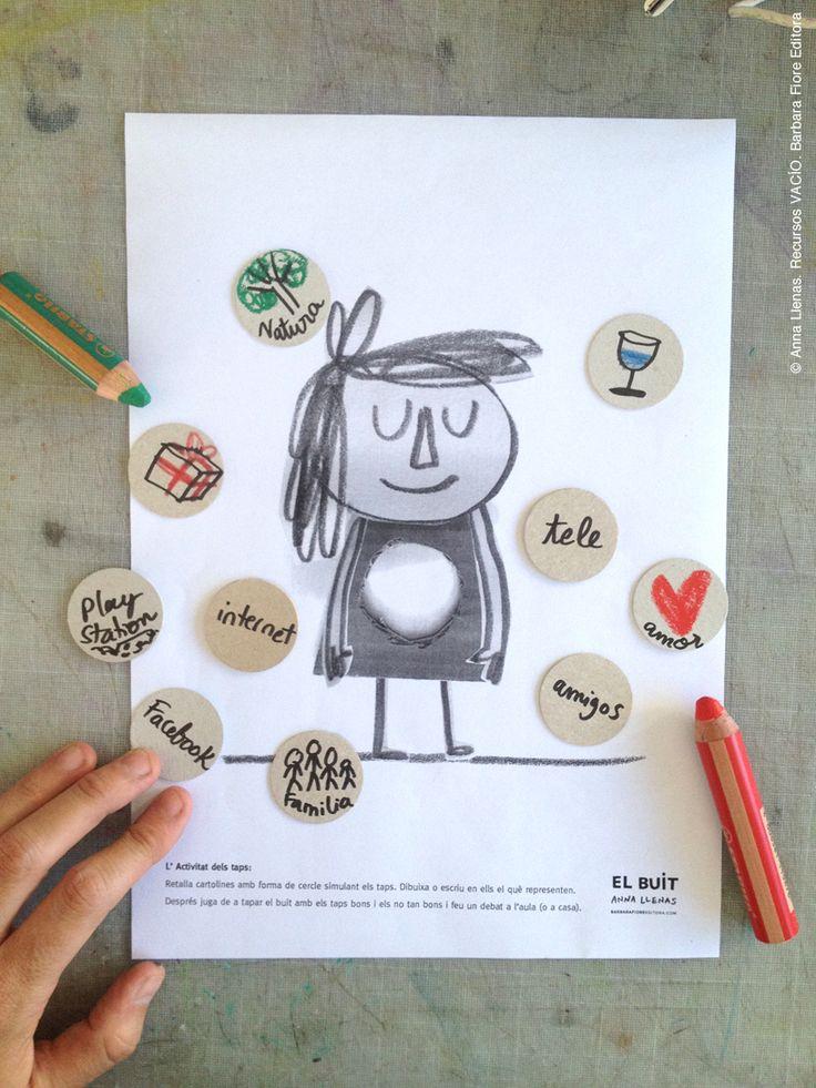 """ACTIVIDAD niños a partir de 8 años. Recorta círculos y escribe en ellos los conceptos de """"tapones"""" que representan para tapar el vacío. Después podéis entablar una conversación con tu hijo o un debate entre los alumnos sobre el tema de los tapones """"estimables"""" y """"no tan estimables""""."""