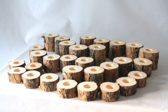 Rustic Wedding Pine Log Tealight Candle Holders - set of 30 holders, rustic wedding, woodland wedding, country wedding decorations. $45.00, via Etsy.