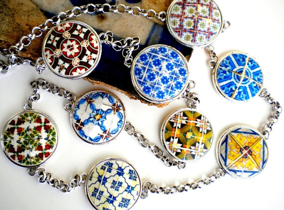 Portugal  Antique Tile Replicas NECKLACE 9 Azulejos from by Atrio,