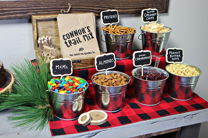 Make Your Own Trail Mix station at a Lumberjack Themed 1st Birthday Party.