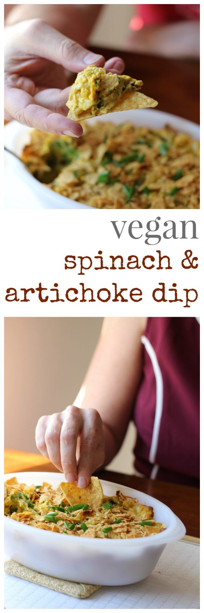 Vegan spinach & artichoke dip: Creamy, decadent, and delicious! You'll never believe it's made with cashews. Gluten-free & soy-free optional. | cadryskitchen.com via @cadryskitchen #vegan #glutenfree #oilfree #dip #appetizer