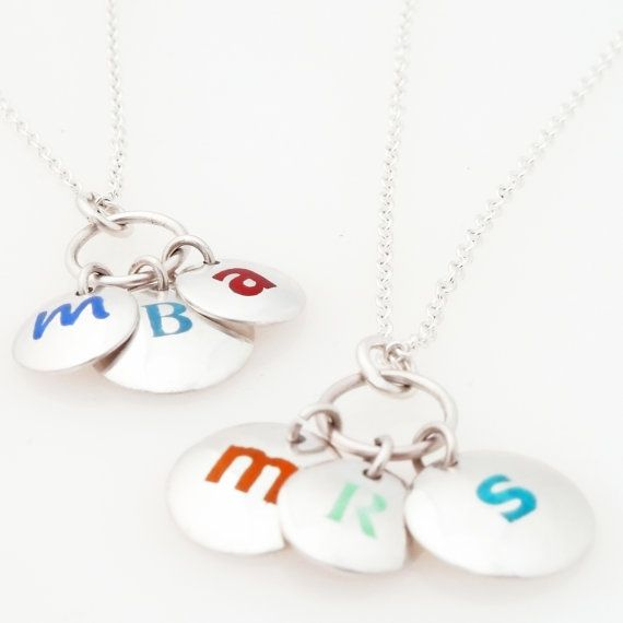 Fine Silver and Enamel Initial Disc Necklace - Customizable