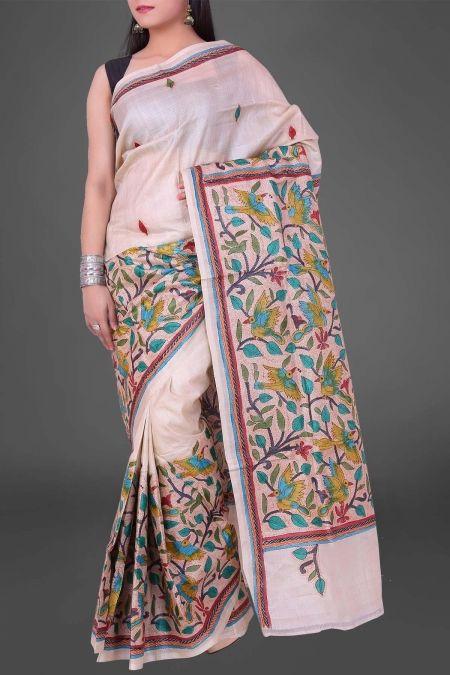 Linen Hand Brush Painted Tota Myna Nakshi Kantha Tussar Silk Saree