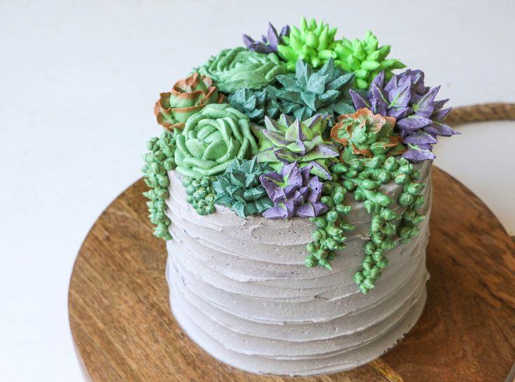 Finished buttercream succulent cake | Erin Gardner | Craftsy
