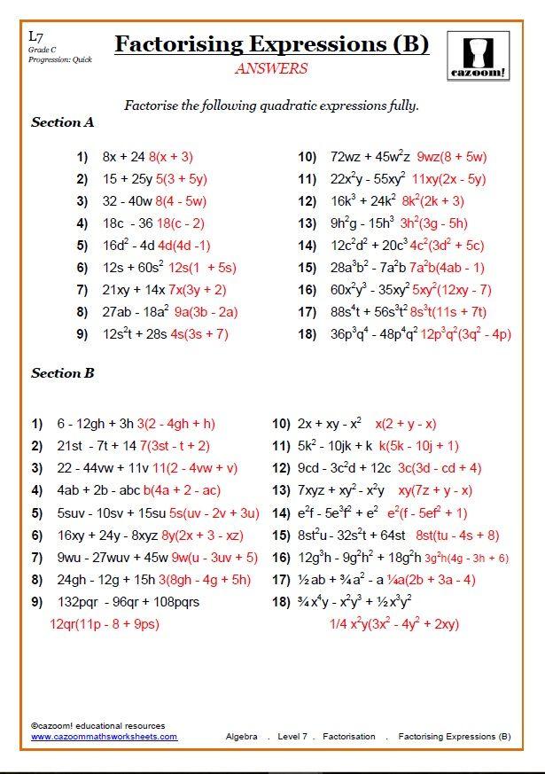 ks3 and ks4 factorising worksheets math. Black Bedroom Furniture Sets. Home Design Ideas