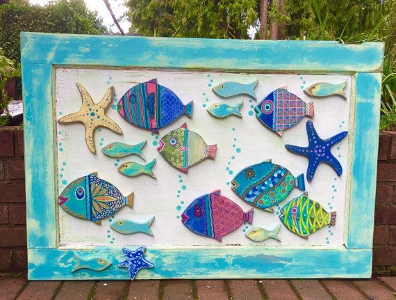 Wood School of Fish Wall Art Headboard Sign Starfish Seahorse Beach Lake House Wall Decor by CastawaysHall  READY TO SHIP - One only!  New and an original design to CastawaysHall. The perfect piece of art for the beach house or to simply give your home that beach house style wherever you live. A school of bubble blowing fish, minnows and some starfish with lots of details are on their way. They are presented on the panel of an antique door with lots of layers of paint in the colours of a…