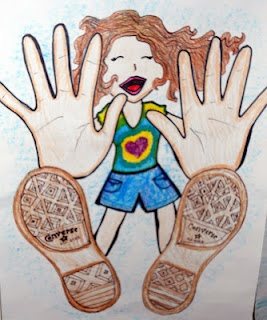 awesome foreshortening project! trace their hands and feet, then add a smaller body behind