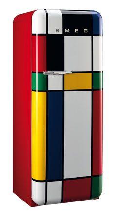 oh loveliness...Kitchen goes arty: Piet Mondrian-inspired Smeg fridge