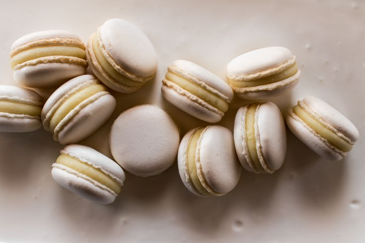 Macarons with white Valrhona chocolate ganache and yogurt.