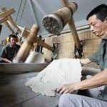 beating the fibers during papermaking - http://www.ibookbinding.com/blog/handmade-paper-making-tutorial-advanced/