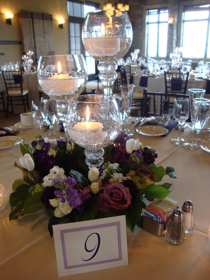 Centerpiece idea with hurricane candle holders