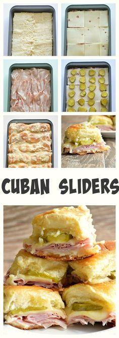 Ethan Garcia 5th  deslizadores cubanos se hacen carne de almuerzo de jamon 2 cucharadas de cebolla 2 cucharadas de Dijon mustard 1 eneldo pickle 24 paquete de rollos hawaiano y 1 paquete de 8 de queso suizo en rodajas y 1 barra de mantequilla al horno