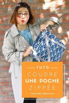Tuto couture – PATRON GRATUIT - coudre une poche avec fermeture éclair sur un sac