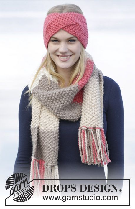 "Eyes On Me - Set consists of: Knitted DROPS head band and scarf in seed st in ""Andes"". - Free pattern by DROPS Design"