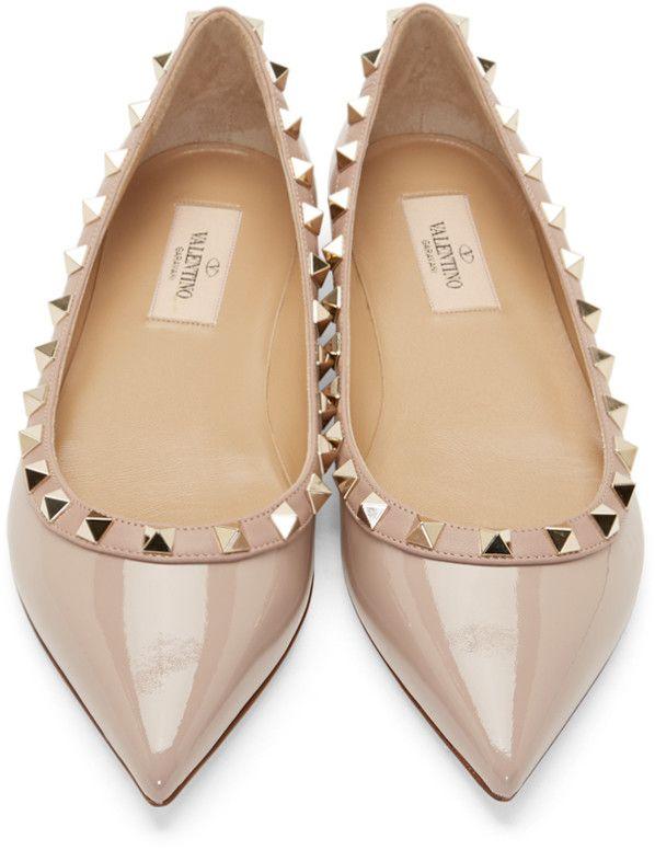 Valentino Powder Pink Patent Rockstud Flats