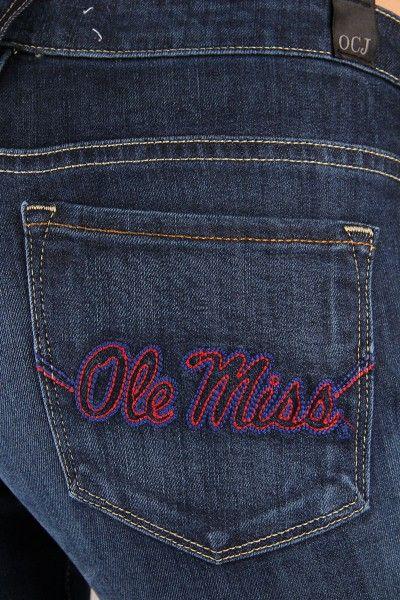 OCJ Apparel   Premium Collegiate Denim   Ole Miss Rebels Bootcut Jeans Ole Miss in Deep Indigo   www.ocjapparel.com