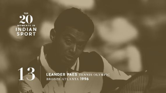 13: Leander Paes wins tennis bronze in Atlanta - Leander Paes entered the 1996 Atlanta Games as a wildcard, only to end up bagging India's first individual Olympic medal in 44 years. Photo: Simon Bruty/Allsport   www.piclectica.com #piclectica