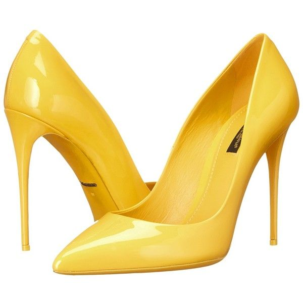 Dolce & Gabbana Vernice Pump (Sun) Women's Shoes (1.995 BRL) ❤ liked on Polyvore featuring shoes, pumps, heels, dolce & gabbana, pointed toe high heel pumps, high heel pumps, leather pointed toe pumps, leather slip-on shoes and slip on pumps