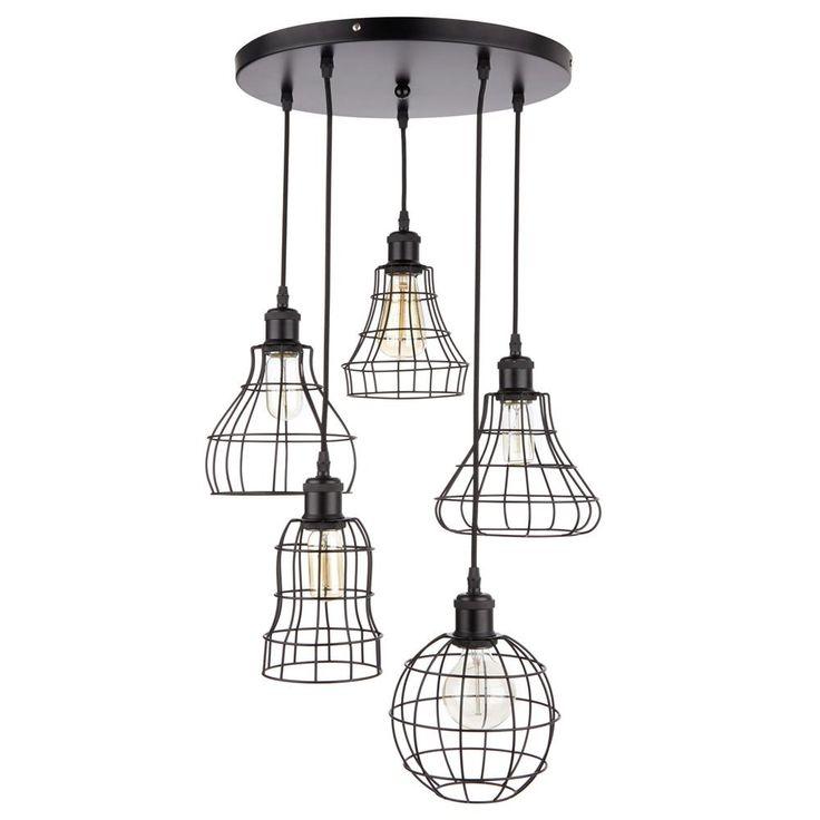 Atelier griffintown lampe suspendue 5 abat jours en for Suspension trois ampoules