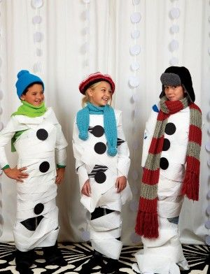 Project Snowman Game. Give teams of kids toilet paper and winter accessories