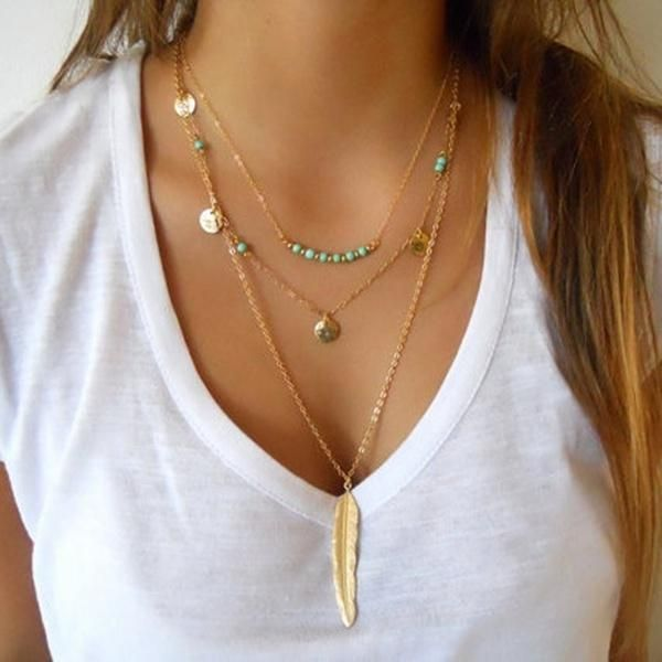 01b0842a7e5d Boho Turquoise Multi-Chain Feather Necklace