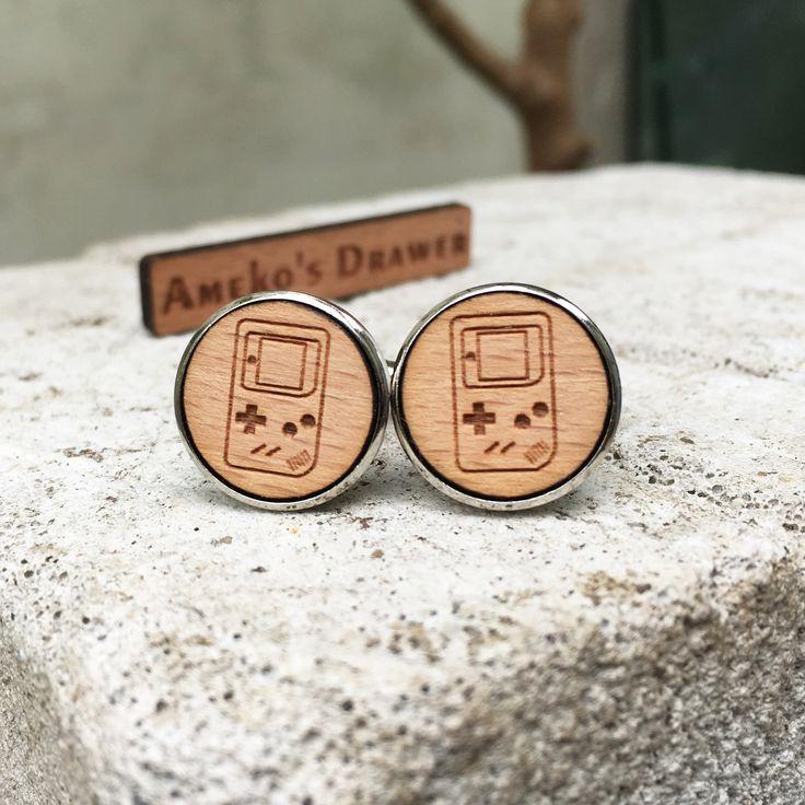 Gameboy Wooden Cuff Links Gamer Wedding Gift Groomsmen Game Wood 90s Jewelry X 1 Pair