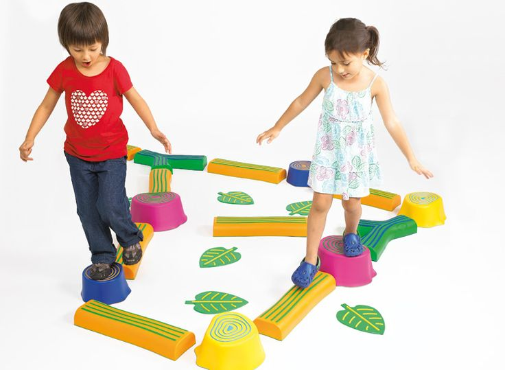 Step-a-Forest Set allows children to create their own forest playground.   Comes in Candy Colors. 6 stumps, 10 trails and 6 leaves, 2 nylon bags included.  #edxeducation #grossmotorskills #learnbyplay #earlyyears