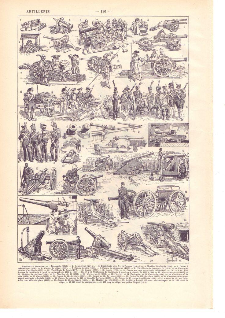"""Illustration vintage """" Artillerie"""" Dictionnaire Français  1930/ Digital download de la boutique SoPrettyJoliVintage sur Etsy"""