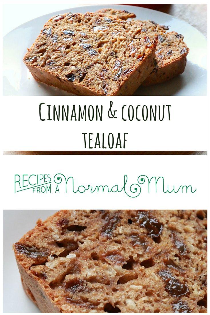 Cinnamon & coconut low fat tealoaf.   Easy cake to stir up, ready in an hour.   #recipe #bake #tea #lowfat #tealoaf #cake #cinnamon #coconut #easyrecipe #recipesfromanormalmum #cinnamonloaf #coconutloaf #coconutcake #cinnamoncake