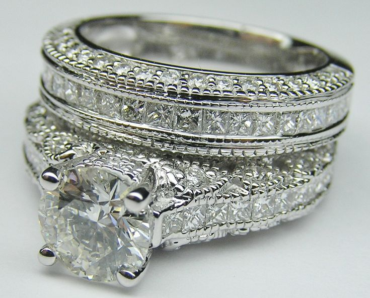 Awesome Fancy Engagement Ring Vintage Three Side Pave Engagement Ring u Matching Wedding Ring in White Gold