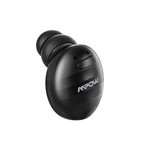 Mpow EM6 Single Mini Bluetooth Earbud V4.1 Wireless Earbud with Mic Invisible Headphone with 6 Hour Playtime Car Bluetooth Headset for iPhone Android Smart Phones (Two Chargers)
