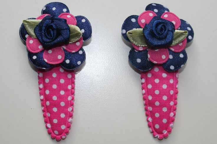Roze polkadot  met navy blauw / roze bloem