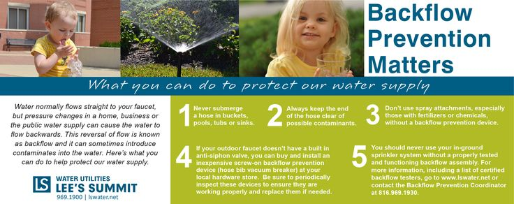 Water normally flows straight to your faucet, but pressure changes in a home, business or the public water supply can cause the water to flow backwards. This reversal of flow is known as backflow and it can sometimes introduce contaminates into the water. Here's what you can do to help protect our water supply.