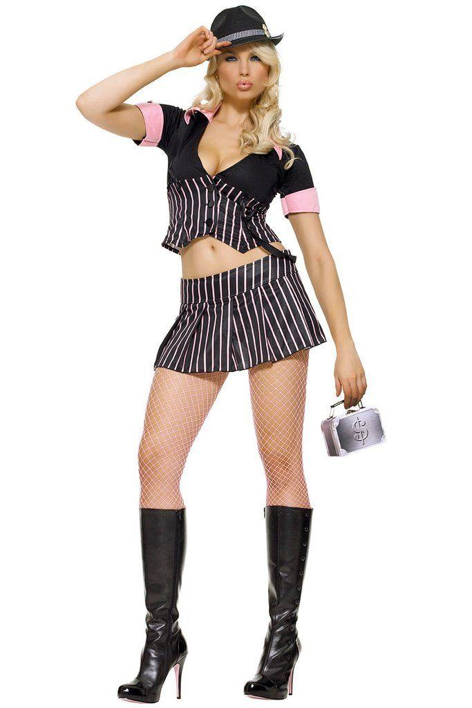 LA83287 Mobster Gangster Girl Fancy Dress Costume