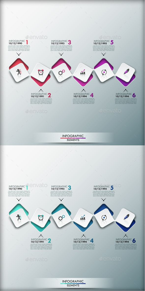 Modern Infographic Timeline Template (2 Colors) #design Download…