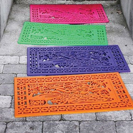 Buy a rubber doormat and spray paint it any color :) what an awesome craft