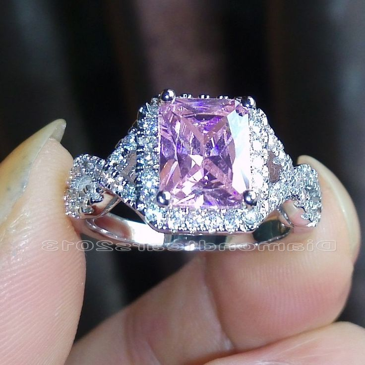 Sz 5-10 Princess cut 925 silver filled Pink sapphire Wedding Ring Christmas gift #Diamondtears2013 #ClawRing