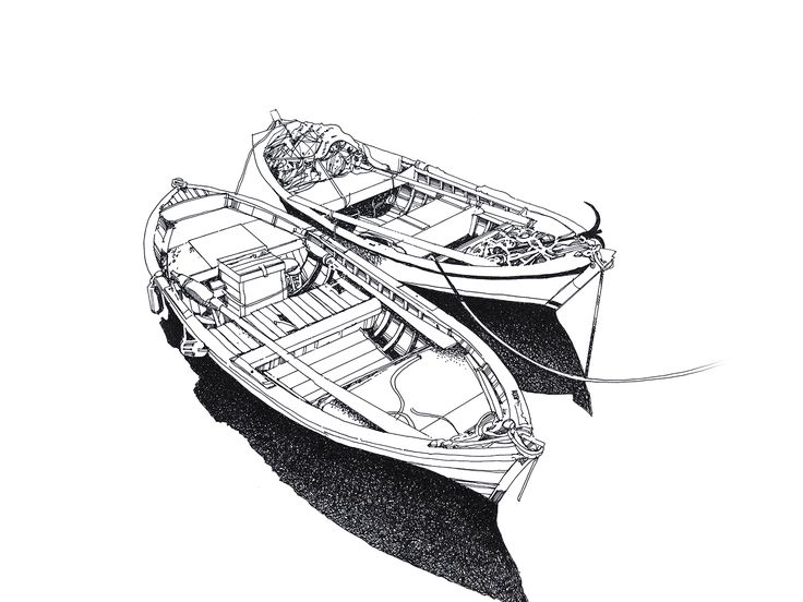 Boats 2 pen and ink illustration