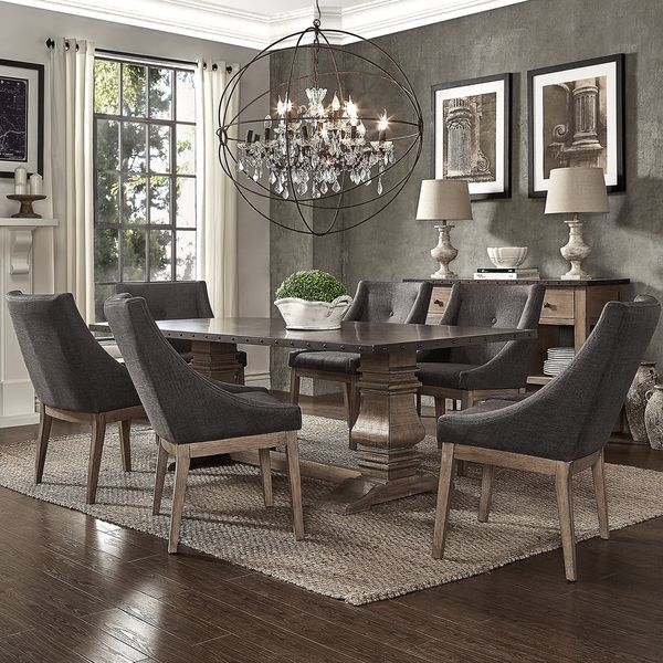 SIGNAL HILLS Voyager Wood and Zinc Balustrade 84-inch Rectangle Dining Set