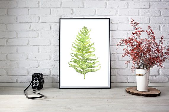 Fern Leaf Printable Botanical Watercolour Fern Leaf