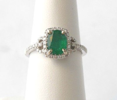 18k White Gold Emerald Ring with Diamond Halo Band $1,500.00