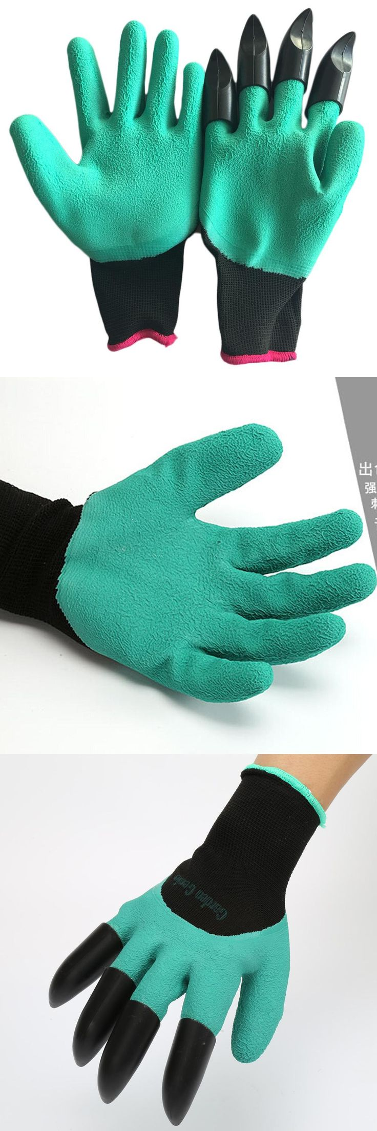 [Visit to Buy] Best Price 1 Pair Rubber Polyester Builders Garden Work Latex Gloves 4 ABS Plastic Claws #Advertisement