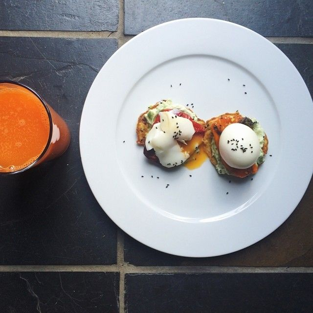 Minted Courgette Fritters + Avocado Goat, Cheese, Peppers + Soft Boiled Eggs