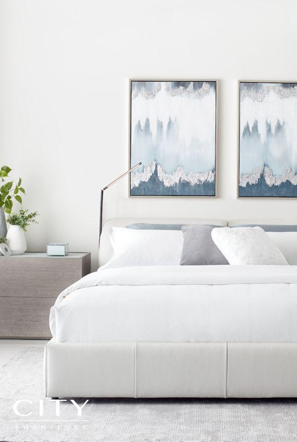 Montez White Leather Power Adjustable Headrest Platform Bed Queen Leather Bed Headrest Bed