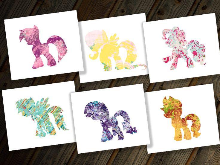 Hasbro My Little Pony Friendship is Magic MLP Six Digital Prints Set Rainbow Dash Twilight Sparkle Pinkie Pie Applejack Rarity & Fluttershy by LittleBennyDesigns on Etsy https://www.etsy.com/listing/188284030/hasbro-my-little-pony-friendship-is