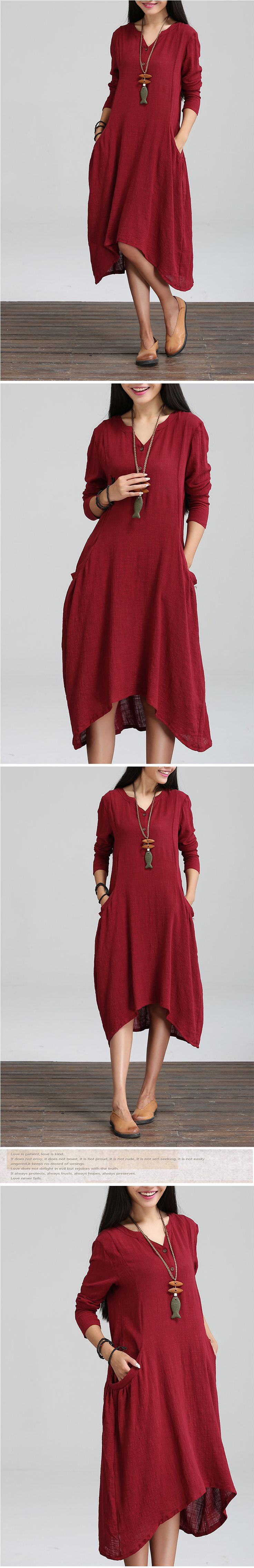 Платья : Свободное платье с присборенными карманами и длинными втачными рукавами